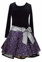 Bonnie Jean Black and Purple  Hipster Dress with Silver Bow