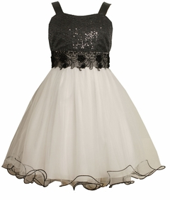 Bonnie Jean - Black and White Sequin Tulle Dress