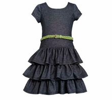 Bonnie Jean Black Knit Tiered Knit Dress 4-6   FINAL SALE