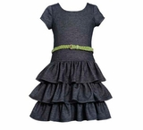 Bonnie Jean Black Chambray Tiered Knit Dress