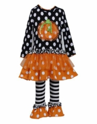 Bonnie Jean Black Dot Ruffle Pumpkin Legging Set