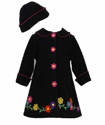 Bonnie Jean Black Flower Fleece Coat Set CLEARANCE
