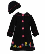 Bonnie Jean Black Flower Fleece Coat Set