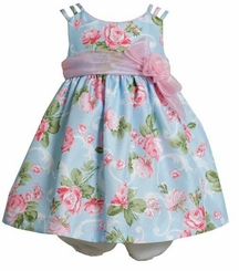 Bonnie Jean Infant Girls Blue Floral Infant Dress