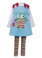 Bonnie Jean Blue Owl Fleece Jumper Set