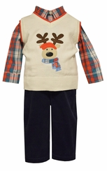 Bonnie Jean Boy's Ivory Navy Reindeer Pant Set Holiday Pant Set - sold out