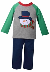 Bonnie Jean Boy's Gray Green Snowman Boys Christmas Pant Set