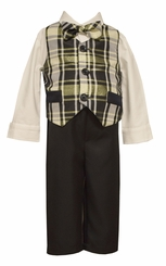 Bonnie Jean Boys Gold Plaid Vest Holiday Pant Set