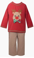 Bonnie Jean Boys Red Reindeer Boys Holiday Pant Set