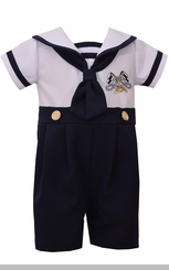 Bonnie Jean Boys Sailor Outfit Nautical Boys Coverall