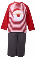 Bonnie Jean Boys Santa Stripe Boys Holiday Pant Set