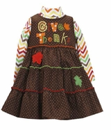 Bonnie Jean Brown Chevron Give Thanks Jumper Dress