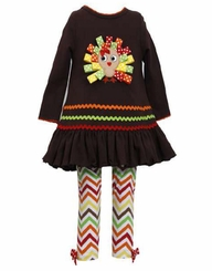 Baby Girls Brown Ribbon Turkey Chevron Pant Set