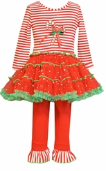 Bonnie Jean Candy Cane Tutu Legging Set - NEW!