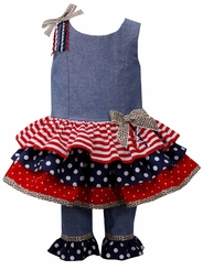 Bonnie Jean 4th of July Stars & Stripes Legging Set