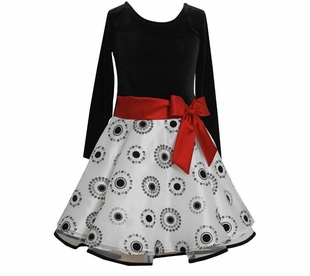 Bonnie Jean Collection: Black White Dot Hipster Special Occasion Dress