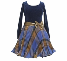 Bonnie Jean Collection:  Blue Velour Plaid Pleated Holiday  Dress