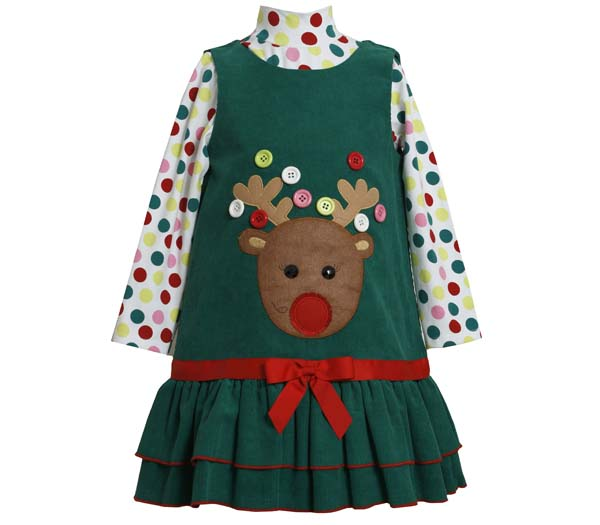 Bonnie Jean Collection: Button Reindeer Christmas Dress 4T at Sears.com