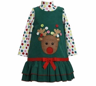 Bonnie Jean Collection: Button Reindeer Christmas Dress