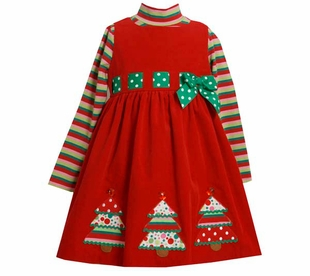 Bonnie Jean Collection: Girl's Christmas Tree Holiday Dress