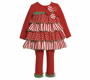Bonnie Jean Collection : Girl's Holiday Stripe Tiered Pant Set