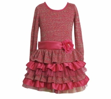 Bonnie Jean Girl's Dresses Fuchsia Sparkle Knit Tiered Dress