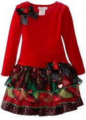 Girls Christmas Dresses Bonnie Jean Red Plaid Velour Tiered Dress - SOLD OUT