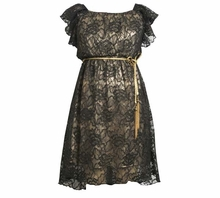 Girls Party Dress :  Black Lace Gold Tassel Belted Dress - SOLD OUT