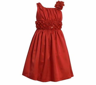 Bonnie Jean Collection: Red Satin Sleeveless Draped Party Dress