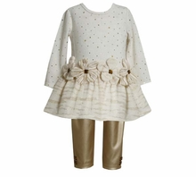 Bonnie Jean Collection: Ivory Flower Tunic and Faux Leather Gold Pant
