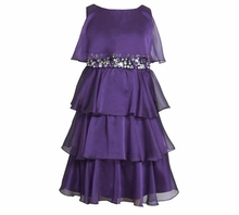 Bonnie Jean Collection: Special Occasion Plum Chiffon Tiered Dress