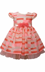 Bonnie Jean Coral Burnt Out Empire Dress