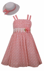 Bonnie Jean Girls Coral Easter Dress with Hat