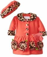 Bonnie Jean Infant or Girls Coral Leopard Bonaz Coat