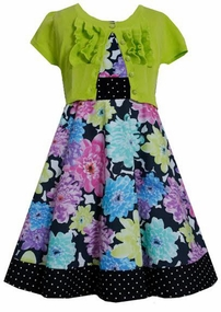 Bonnie Jean Floral and Dot Lime Cardigan Dress  FINAL SALE