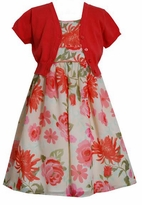 Bonnie Jean Floral Coral Dress With Cardigan