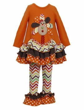 Bonnie Jean Gingerbread Turkey Pant Set - OUT OF STOCK