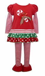 Bonnie Jean Girl Red Candy Cane Legging Christmas Set