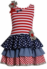 Bonnie Jean Girl's 4th of July Stars and Stripes Mixed Tiered Dress - sold out