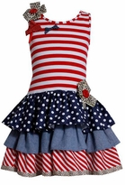 Bonnie Jean Girl's 4th of July Stars and Stripes Mixed Tiered Dress