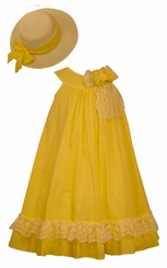 Bonnie Jean Girl's Clip Trapeze Yellow Dress with Hat