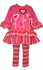 Bonnie Jean Girl's Valentine's Day Flower Heart Tunic Set