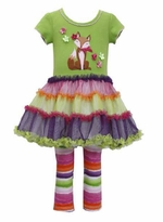 Bonnie Jean Girl's Fox Applique Tutu Set