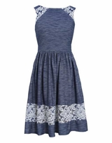 Bonnie Jean Girl's Lace Knit Chambray Dress
