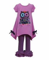 Bonnie Jean Girl's Magenta Hanky Owl Legging Set