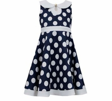 Bonnie Jean Big Girl's 4- 16 Dress Navy Dot Scuba
