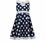 Bonnie Jean Girl's 7 - 16 Dress Navy Dot Scuba