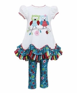 Bonnie Jean Girl's Owls In Love Legging Set