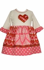Bonnie Jean Girl's Paneled Hearts Valentine's Day Dress