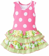 Bonnie Jean Girl's Pink Polka Dot Knit Racerback Tiered Dress